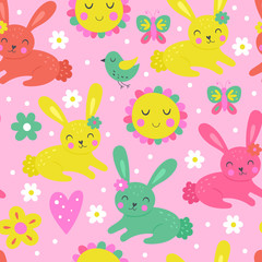 Seamless pattern for Easter holiday and spring with cute bunny.