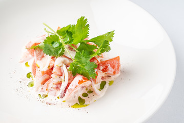 Tomato salad with onion and sour cream on the white plate - Image