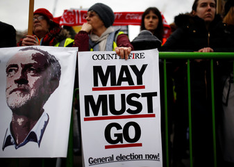 """A banner which reads """"May Must Go"""" is seen next to a banner with the picture of Labour leader Jeremy Corbyn during a demonstration march in central London"""