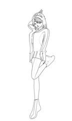 Skizze eines hübschen Manga Mädchen in Shojo Pose. Illustration
