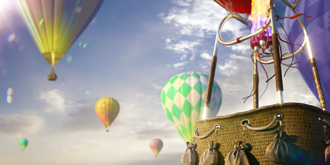 Printed roller blinds Balloon Empty basket hot air balloon beautiful background