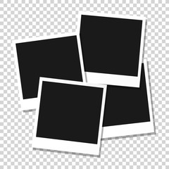 Set of Retro photo frames with shadows.Photo frame icon. Realistic old photo isolated on transparency background.  Vector stock.