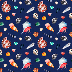 Underwater creatures.Watercolor seamless pattern with multicolored seashells.Dark background.Perfect for wallpaper,print,packaging,invitations,packaging,cover design,travel.