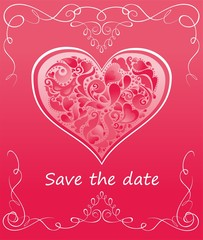 Greeting pink card with heart shape with hearts for wedding invitation and Valentine's day party