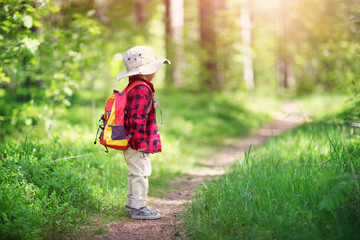 Wall Mural - boy going camping with backpack in nature