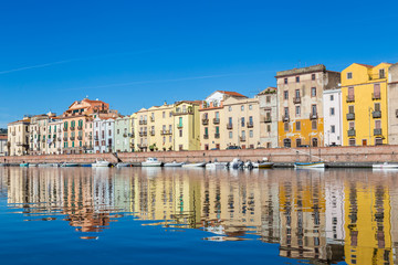Cityscape of the colorful small town Bosa in Sardinia, Italy