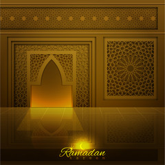 Ramadan Kareem greeting background mosque and window with islamic pattern. translation of text : Ramadan kareem may generosity bless you during  the holy month-vector