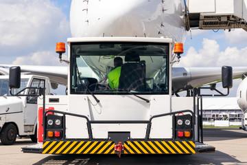 passenger plane airport towing vehicle