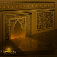 Ramadan Kareem mosque window & door with greeting line pattern for islamic greeting and banner vector background - translation of text : Ramadan Kareem - may generosity bless you during the holy month