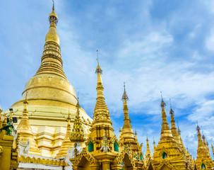 Shwedagon Paya pagoda Myanmer famous sacred place and tourist attraction landmark.Yangon