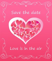 Greeting pink card with heart shape with hearts for wedding invitation
