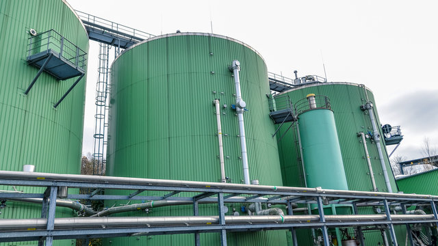 Biogas power station. Alternative energy sources.