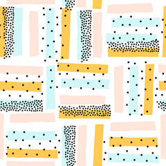 Śliczny semless wzór z kolorowymi abstrakcjonistycznymi kształtami. Idealny do tkanin dziecięcych, tekstylnych, tapet dziecięcych. Ilustracji wektorowych. - 243010335