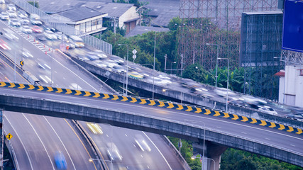 Highway from top view in rush hour, Bangkok