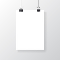 Empty A4 sized vector paper frame mockup hanging with paper clip. Realistic empty white poster template.