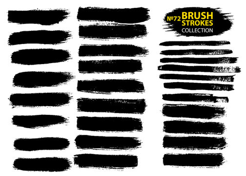 Dirty artistic design elements isolated on white background. Black ink vector brush strokes