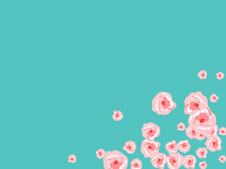 Floral Summer Poster With Pink Roses On A Blue Background. Romantic Background With Roses For Wedding And Greeting For Valentine's Day.