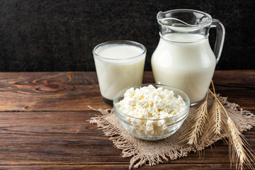 Dairy products on dark wooden background. Milk, cottage cheese and sour cream.