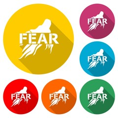 Fear icon, Fear icon or logo, color set with long shadow