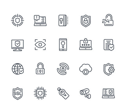 Security and protection line icons on white, secure browsing, cybersecurity, protected data and privacy
