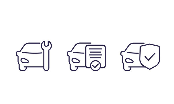car service vector line icons on white