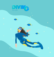 Girl scuba diver and tropical fish. A poster with the inscription. Young woman in a diving suit and fins swimming underwater against the background of the sea wave.
