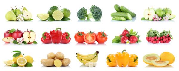 Wall Mural - Früchte Obst und Gemüse Sammlung Apfel Bananen Erdbeeren Farben frische Freisteller freigestellt isoliert