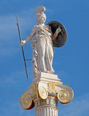 Athens Greece, Athena statue under blue sky background