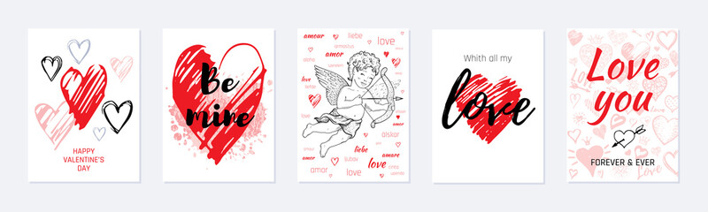 Valentine s day card design set. Poster with hearts, cute cupid, slogan. Vector illustration for greeting gift tag, t shirt print. Trendy hand drawn doodle style, cool flyer template isolated on white