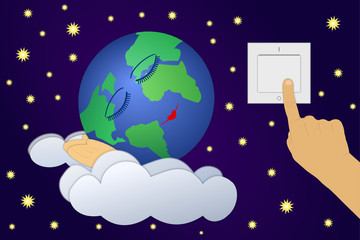 Vector illustration of Earth Hour - movement, that encouraging all to turn off lights for 60 minutes