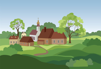 Rural landscape with hills, fields, trees and countryhouse. Countryside skyline.