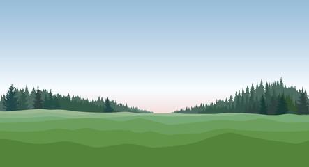 Rural landscape. Countryside nature skyline background