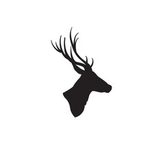 Deer head silhouette. Wild animal reindeer profile