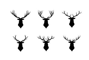 Deer head silhouette. Wild animal reindeer set