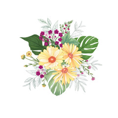 Flower bouquet over white background. Floral design greeting card