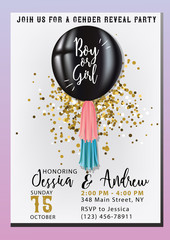 Gender reveal party invitation with balloon