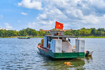 Fisherman boat at Perfume river, Hue, Vietnam
