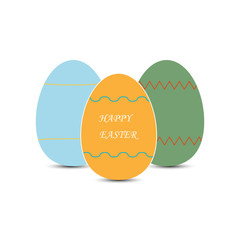 Simple drawing of colored easter eggs and the inscription happy easter