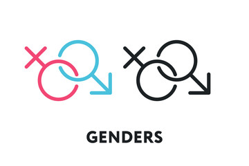 Male and Female Gender Symbols. Man and Woman Unisex. Vector Flat Line Stroke Icon.