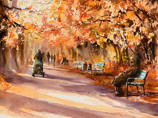 Park in sunny autumn day. Picture created with watercolors.