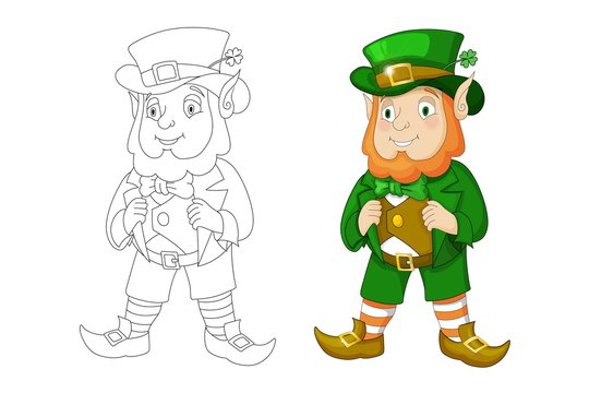 Cartoon Leprechaun in green frock coat and top hat with four-leaf clover