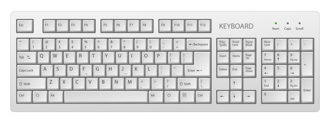 vector white pc keyboard, keyboard is very useful tool for personal computer, it is necessary to write words Wall mural