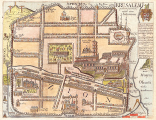 Fototapete - 1650, Fuller Map of Jerusalem, Israel, Palestine, Holy Land