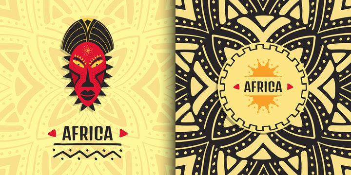 Stylish African banner design. Ethnic tribal art background.