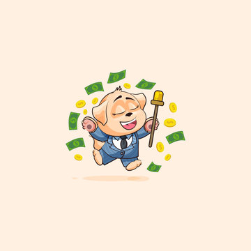 dog cub in business suit jump for joy money