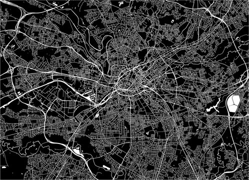 map of the city of Manchester, England, Great Britain
