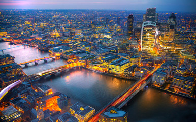 London view at sunset. Panorama include river Thames, bridges and City of London buildings. Wall mural