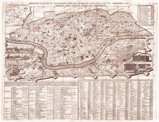 Fototapete - Old Map of Rome, Italy, 1721, Chatelain Plan