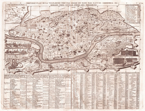 Old Map of Rome, Italy, 1721, Chatelain Plan
