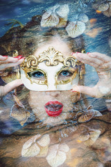 portrait of a beautiful woman with carnival venetian mask double exposure